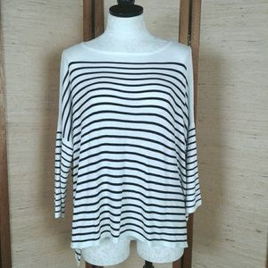 H&M black and white stripe long sleeve sweater M